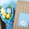 flores caja celeste